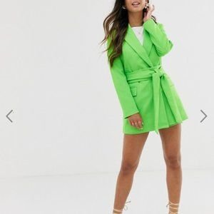 Asos Design wrap belted suit blazer pop green